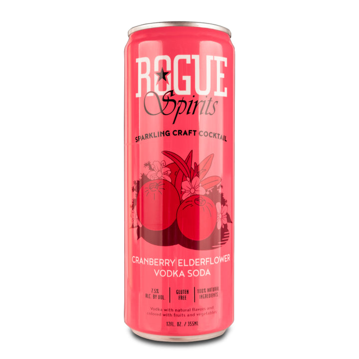 ROGUE CRANBERRY ELDERFLOWER VODKA SODA 12oz - CebadaMalteada