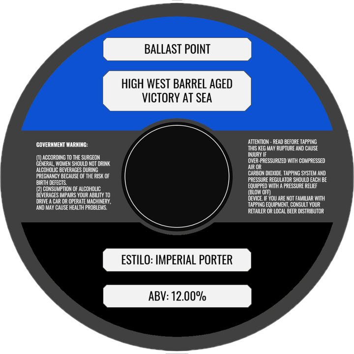 BALLAST POINT HIGH WEST BARREL AGED VICTORY AT SEA (BARRIL) - CebadaMalteada