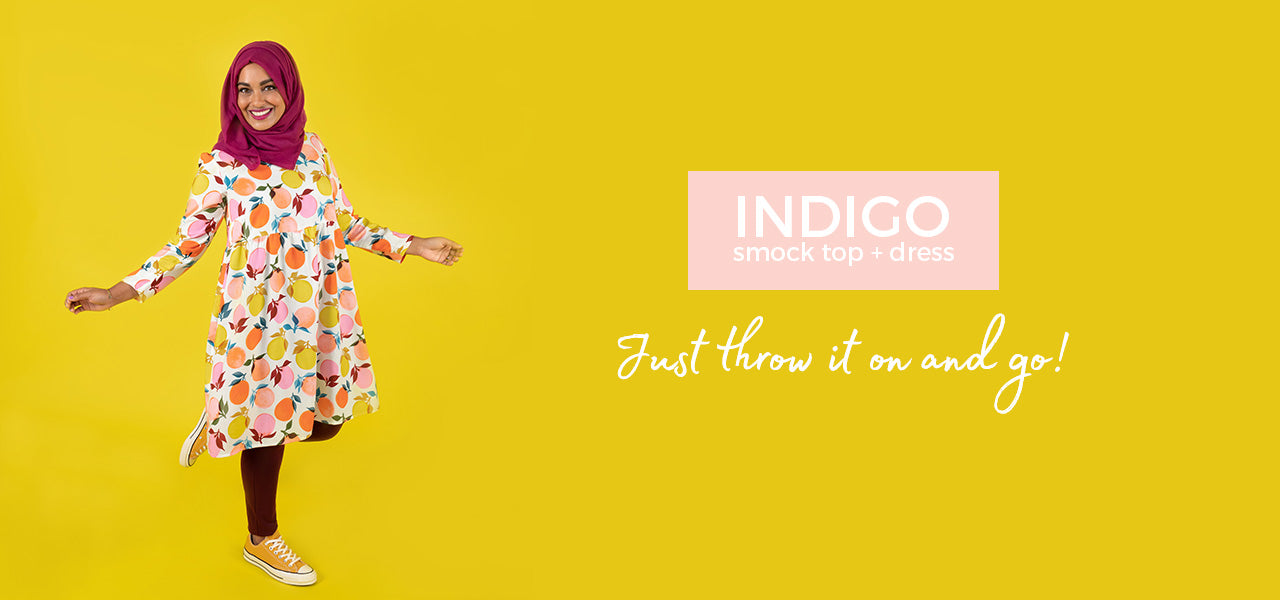 Indigo smock top and dress sewing pattern by Tilly and the Buttons