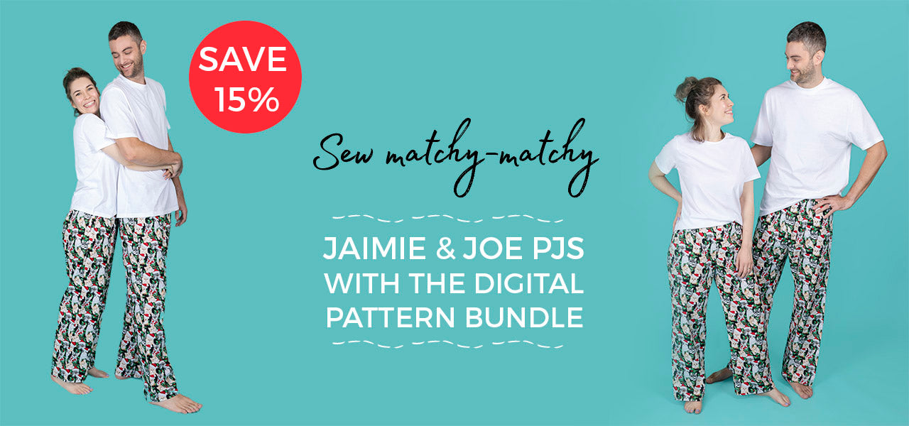 Sew matching pyjamas with our Jaimie and Joe digital sewing pattern bundle