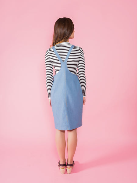 Cleo dungaree dress sewing kit by Tilly and the Buttons