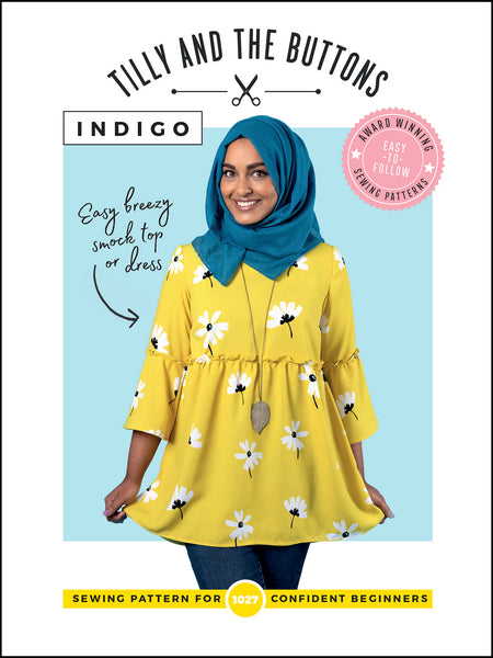 Indigo smock top or dress sewing pattern by Tilly and the Buttons