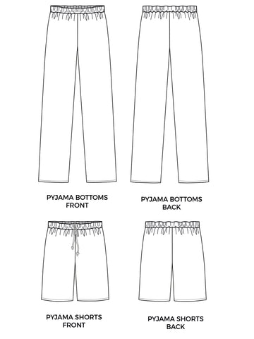 Joe PJ bottoms and shorts digital sewing pattern
