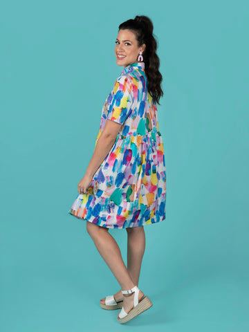 Lyra shirt dress sewing pattern size range 6-24 by Tilly and the Buttons