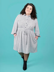 Lyra shirt dress sewing pattern size range 16-34 by Tilly and the Buttons