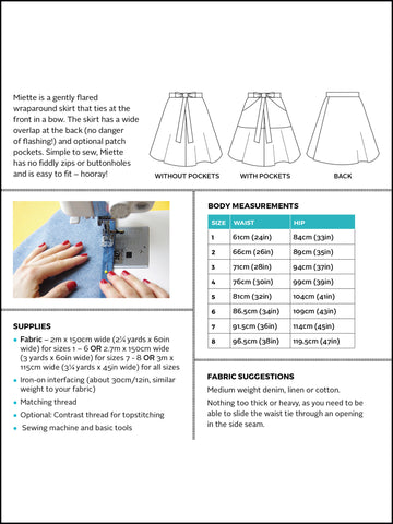 Miette skirt sewing pattern by Tilly and the Buttons