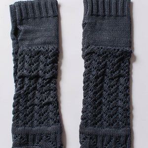 Blue Knitted Arm Warmers