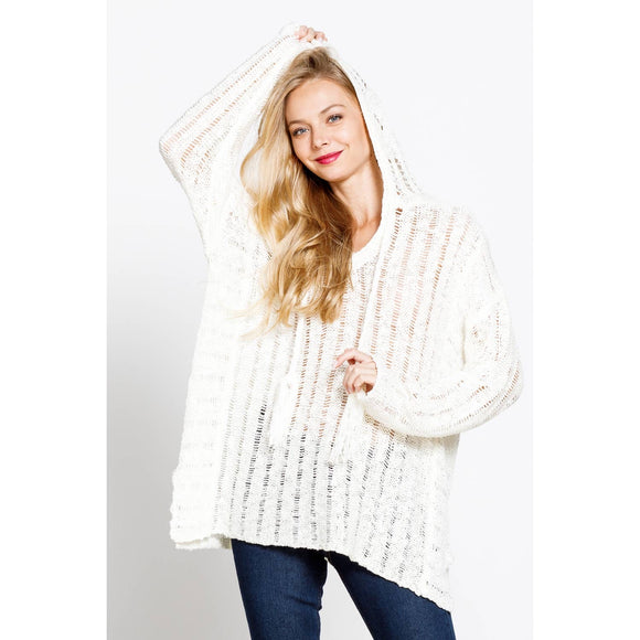 OPEN WORK V-NECK TASSELED HOODIE SWEATER