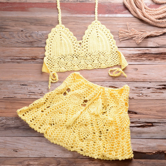 Yellow Two-Piece Crochet Cover Up