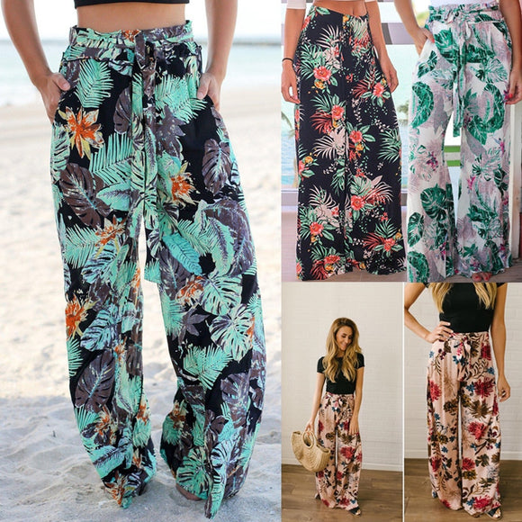 Frenum Flower Wide Legged Trousers with Pockets