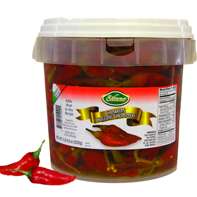 Hot Long Calabrian Chili Peppers (5.8lb/tub)