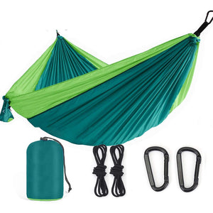 Camping Hammock, 2 Persons Outdoor Indoor Lightweight & Portable Hammock Tent with Straps & Steel Carabiners Nylon for Hiking, Backpacking, Travel, Beach, Yard - Tido Home