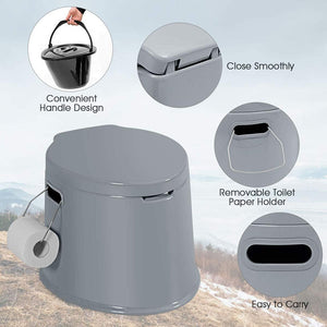Camping Toilet with Detachable Inner Bucket and Removable Toilet Paper Holder Lightweight Outdoor Indoor Toilet for Camping, Hiking, RV, Boating and Trip - Tido Home