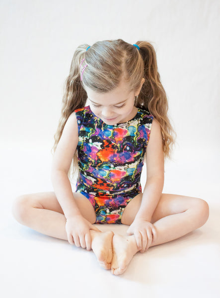 Colourful Marbled Gymnastics Leotard (Sizes 4/5 & 12)