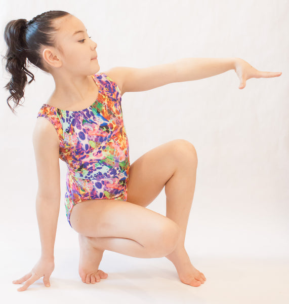 Rainbow Spotted Gymnastics Leotard (Size 12)