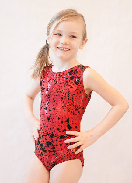 Red & Black Splatter Gymnastics Leotard (Size 8)