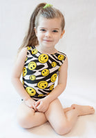 Zebra Smiley Gymnastics Leotard (Size 4/5)