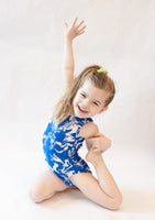 Blue & White Inkblot Gymnastics Leotard (Size 4-6)