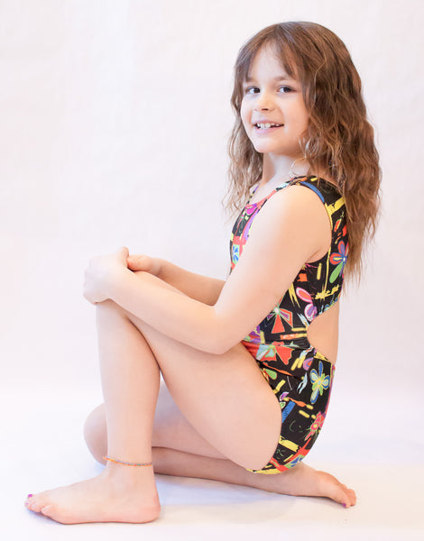 Painted Flowers Gymnastics Leotard (Size 7 & 10)