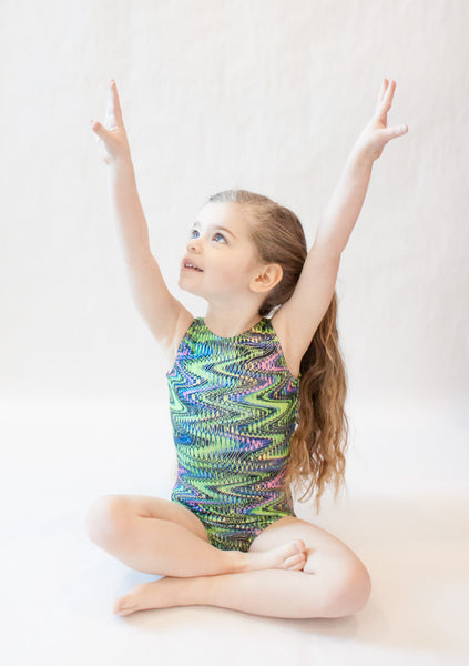 Green Wavy Swirls Gymnastics Leotard (Size 3/4 & Adult XS)