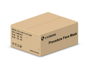 [International Free Delivery]: 1. CAREWE Procedure Face Mask- Adult (20 boxes/ Carton, 1000 Pieces)