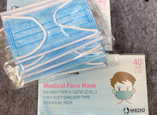 Load image into Gallery viewer, 3. CAREWE Medical Face Mask- EN 14683 TYPE II & ASTM Level 2 (Child fit, Box of 40, Individual Pack)