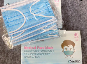 3. CAREWE Medical Face Mask- EN 14683 TYPE II & ASTM Level 2 (Child fit, Box of 40, Individual Pack)
