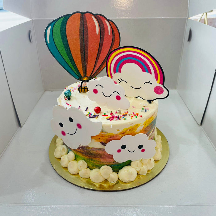 Balloon and Rainbow Cake