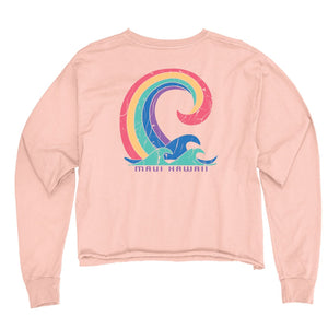 Rejoicing Wave Long Sleeve Crop Top