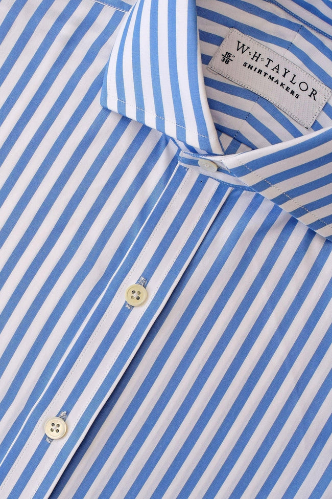 Blue Butcher Striped Poplin Bespoke Shirt-whtshirtmakers.com