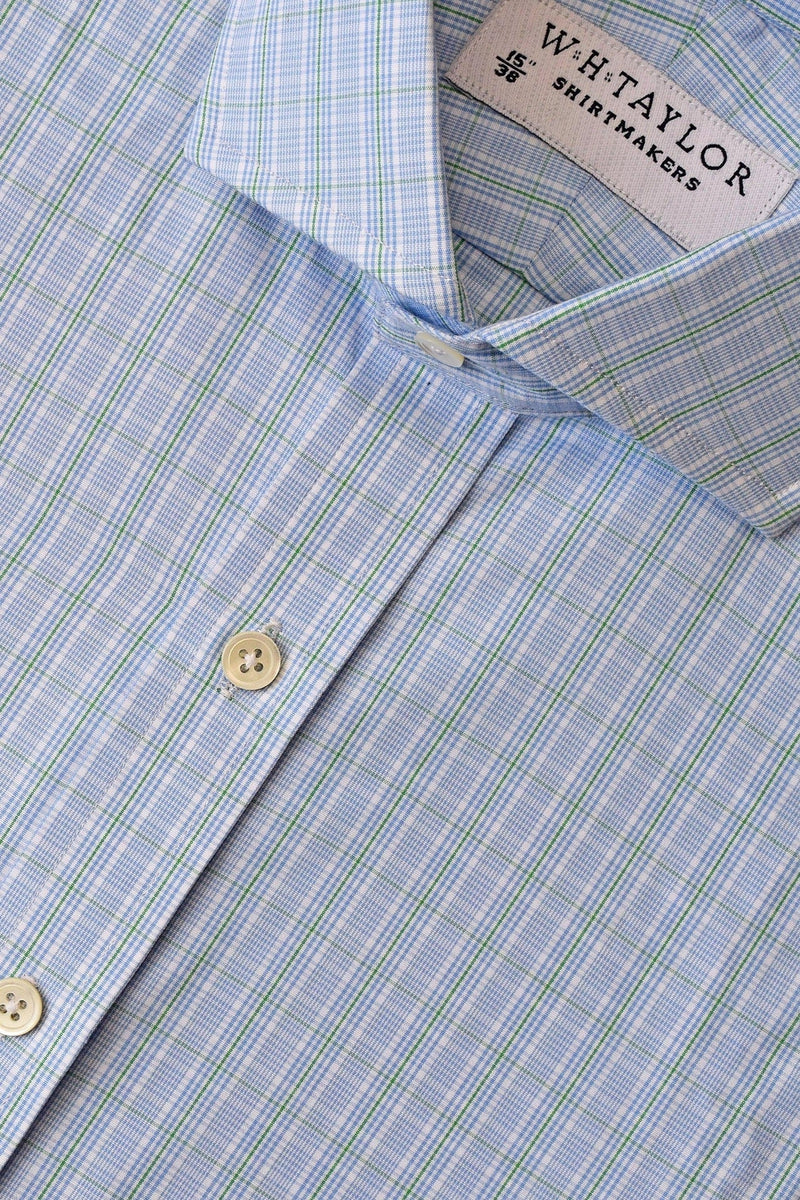 Blue Graph Green Check Poplin Bespoke Shirt-whtshirtmakers.com