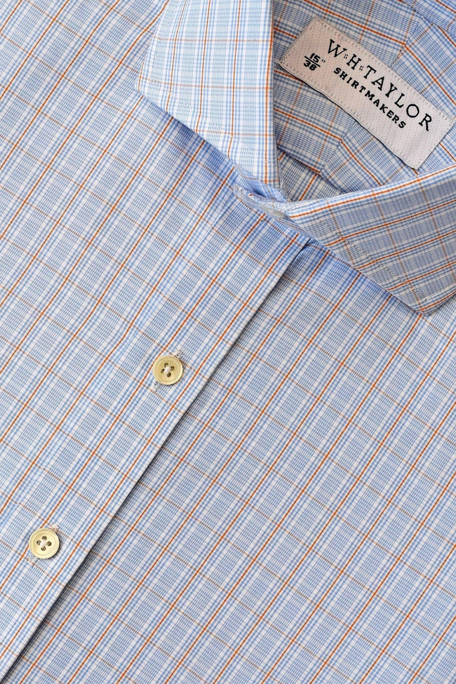 Blue Graph Orange Check Poplin Bespoke Shirt-whtshirtmakers.com
