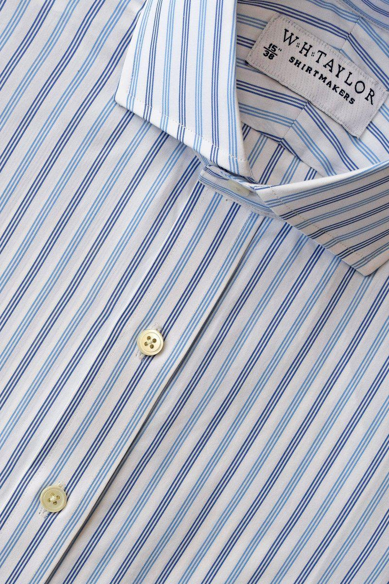 Blue Navy Triple Striped Poplin Bespoke Shirt-whtshirtmakers.com