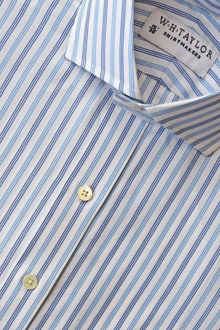 Lemon Blue Pencil Striped Poplin Bespoke Shirt
