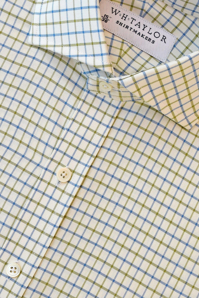 Blue and Olive Twill Check Bespoke Shirt-whtshirtmakers.com