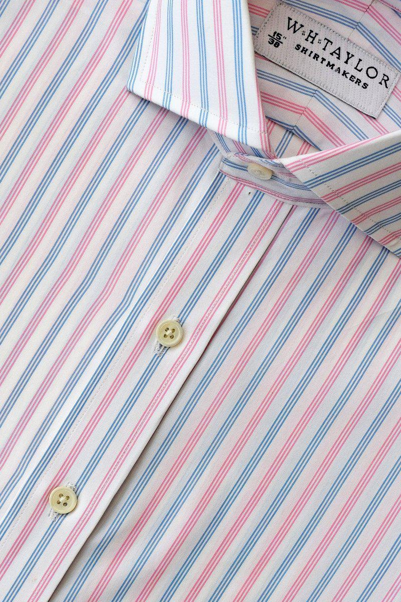 Blue Pink Triple Striped Poplin Bespoke Shirt-whtshirtmakers.com