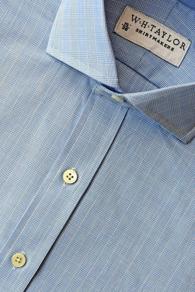 Blue Prince of Wales Check Poplin Bespoke Shirt-whtshirtmakers.com