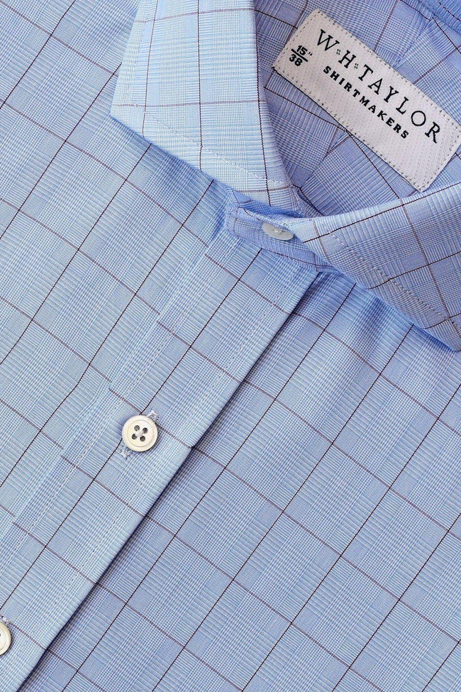 Blue Prince of Wales & Purple Plaid Check Poplin Bespoke Shirt-whtshirtmakers.com