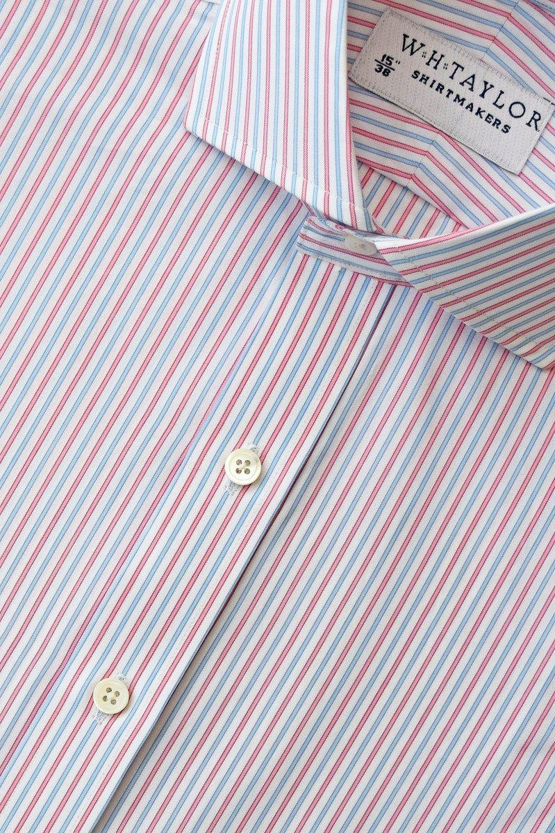 Blue Red Alternative Striped Poplin Bespoke Shirt-whtshirtmakers.com