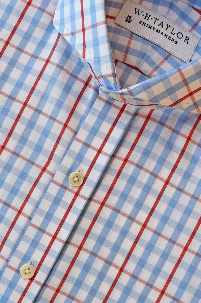 Blue Red Windowpane Check Poplin Bespoke Shirt-whtshirtmakers.com