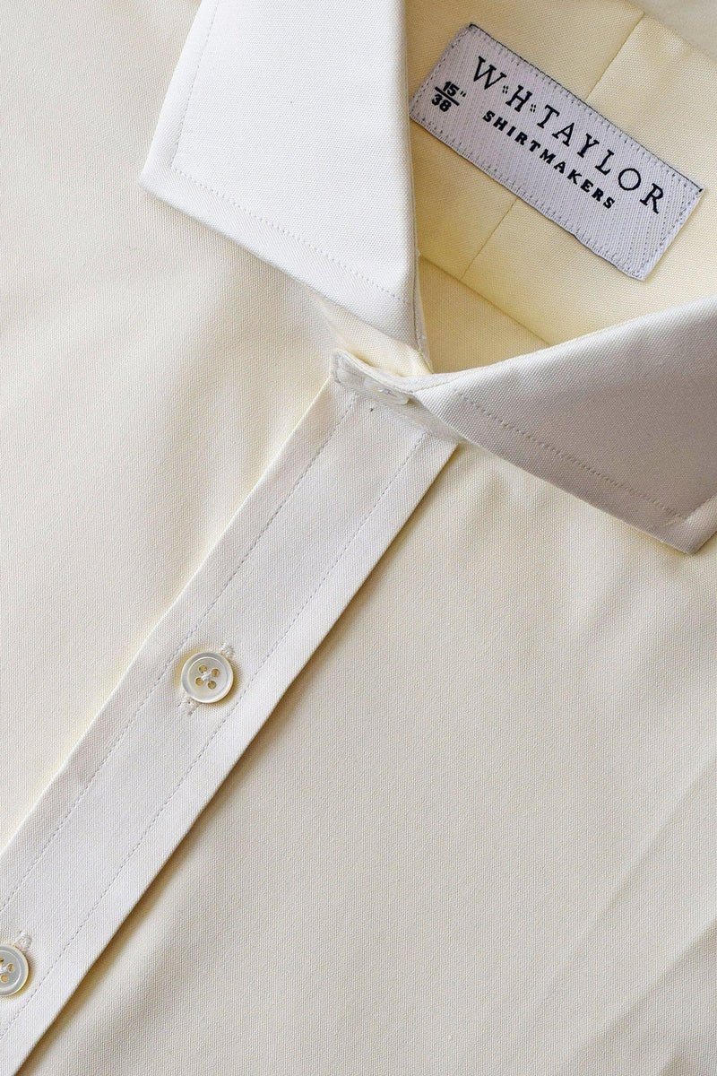 Plain Cream Pinpoint Bespoke Shirt-whtshirtmakers.com