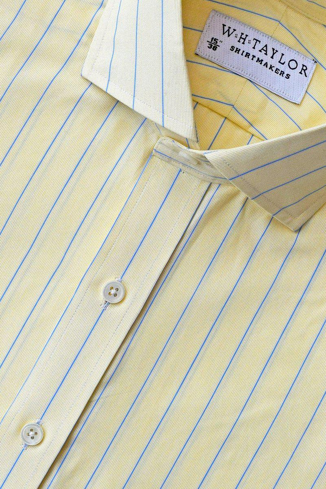 Lemon Blue Pencil Striped Poplin Bespoke Shirt-whtshirtmakers.com
