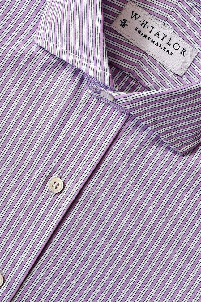 Lilac Shadow Hairline Stripe Poplin Bespoke Shirt-whtshirtmakers.com