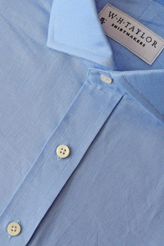 Multiple Blue Check Linen Bespoke Shirt