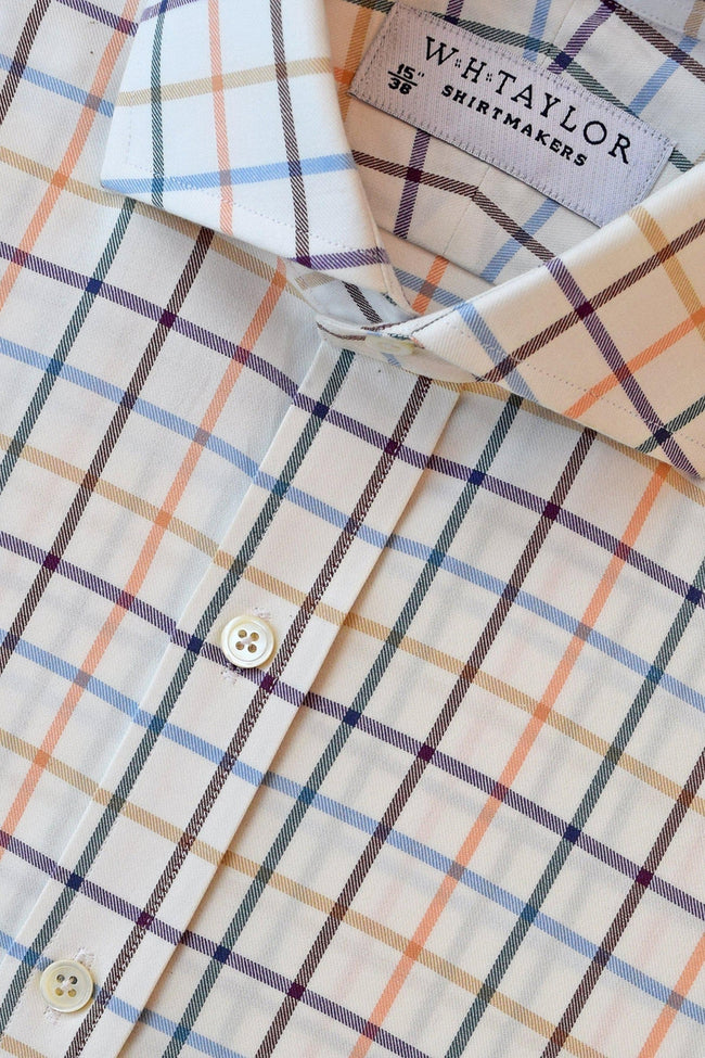 Multi-Coloured Twill Large Check Bespoke Shirt-whtshirtmakers.com
