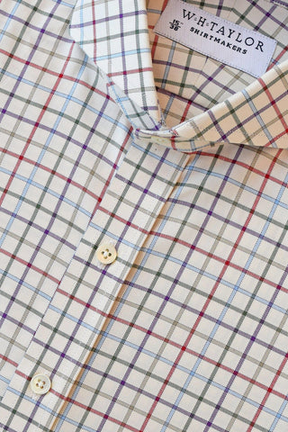 Navy and Wine Tattersall Twill Check Bespoke Shirt