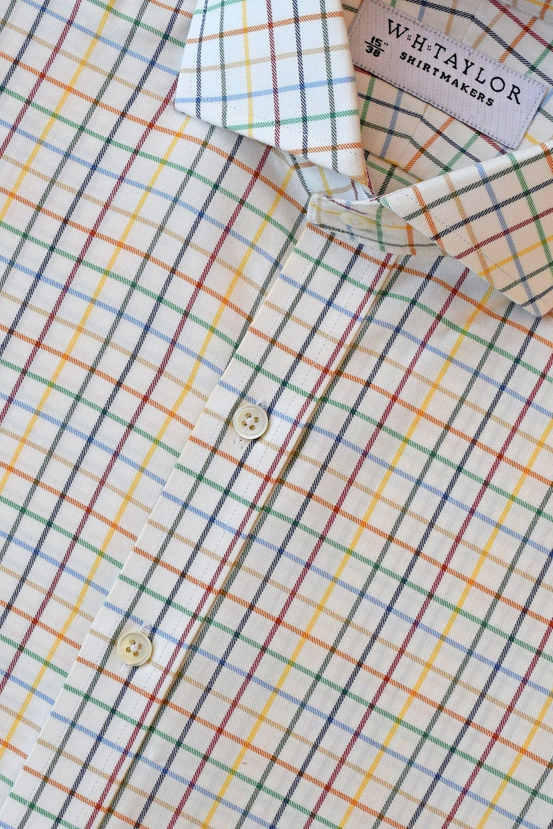 Bright Multi-Coloured Twill Check Bespoke Shirt-whtshirtmakers.com
