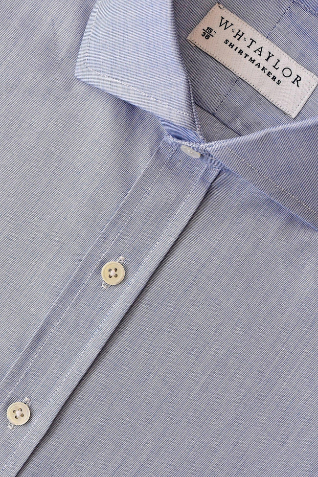 Plain Navy End On End Bespoke Shirt-whtshirtmakers.com