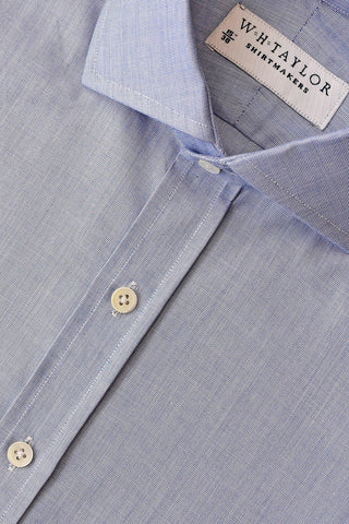 Sky Large Gingham Check Poplin Bespoke Shirt