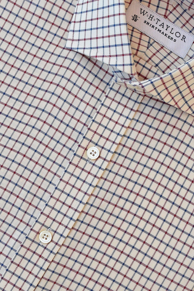Navy and Wine Tattersall Twill Check Bespoke Shirt-whtshirtmakers.com